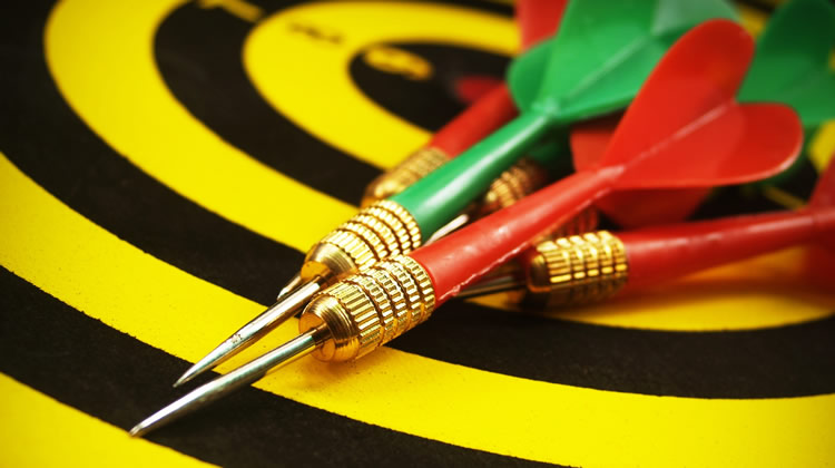 The position of board for darts